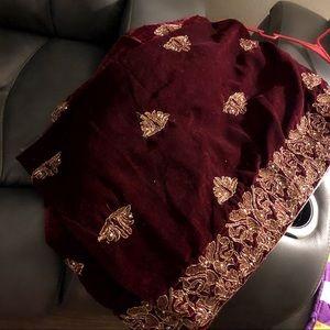 Maroon velvet shawl (Pakistani/Indian shawl)